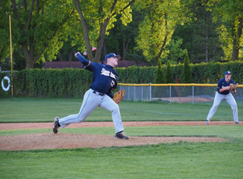 Senior Emerson Egly on the mound is backed up by junior Jesper Salverda on first base.