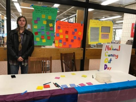 11th grader Zoe Hermer-Cisek runs the Coming Out Stand