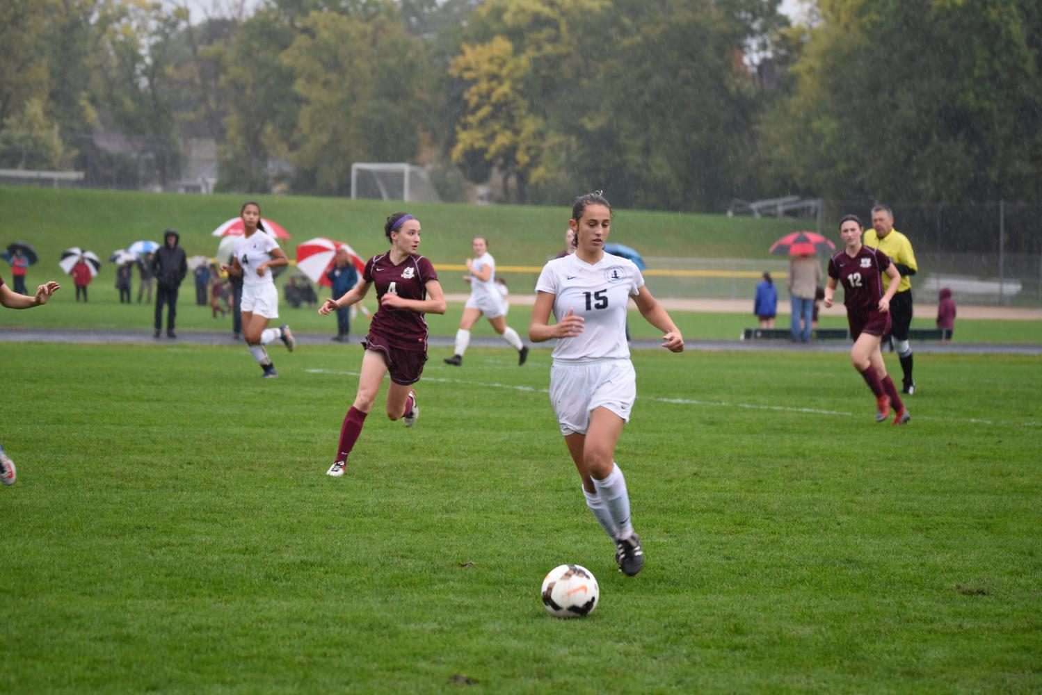 Freshman Olivia Lagos looks to spring forward an attack for the Spartans.