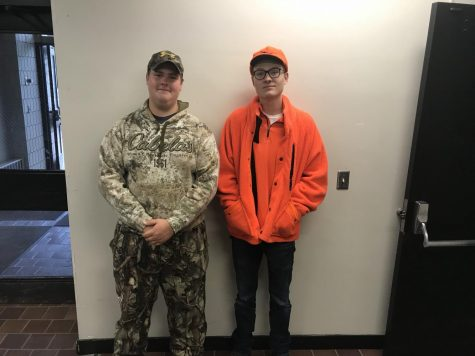 Juniors Dylan Rosso and Riley Tietel dress for hunting ducks