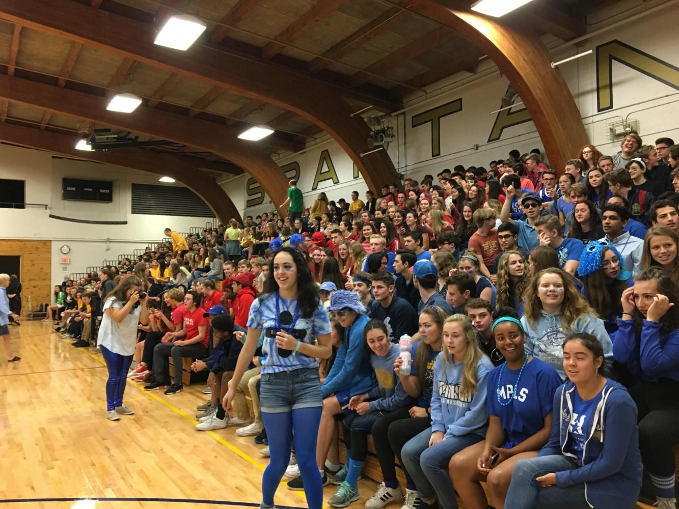 Grades took their class colors seriously and a bright rainbow could be seen across the gymnasium.