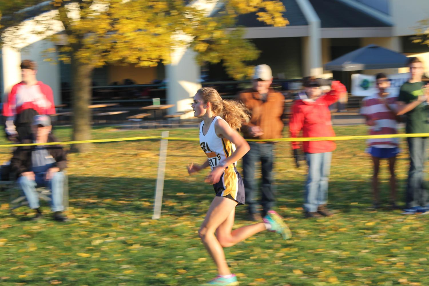 Senior Flannery Enneking-Norton finishes the race strong for first overall.