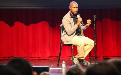 Student group SADD hosted guest speakers Malik Mitchell (pictured) and Tipheret Peña from the Aurora Center for Advocacy and Education.