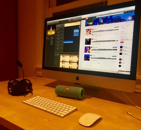 A simple set-up for a  SoundCloud artist includes a recording system and their beats.
