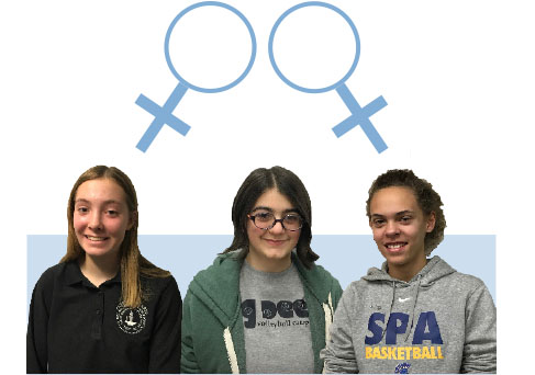 """Ninth graders Julia Scott and Gabriella Thompson, as well as sophomore Savita Yopp explain their experiences as female-identifying students at school. """"The fact is, we still live in a society that's very biased against women,"""" Yopp said."""