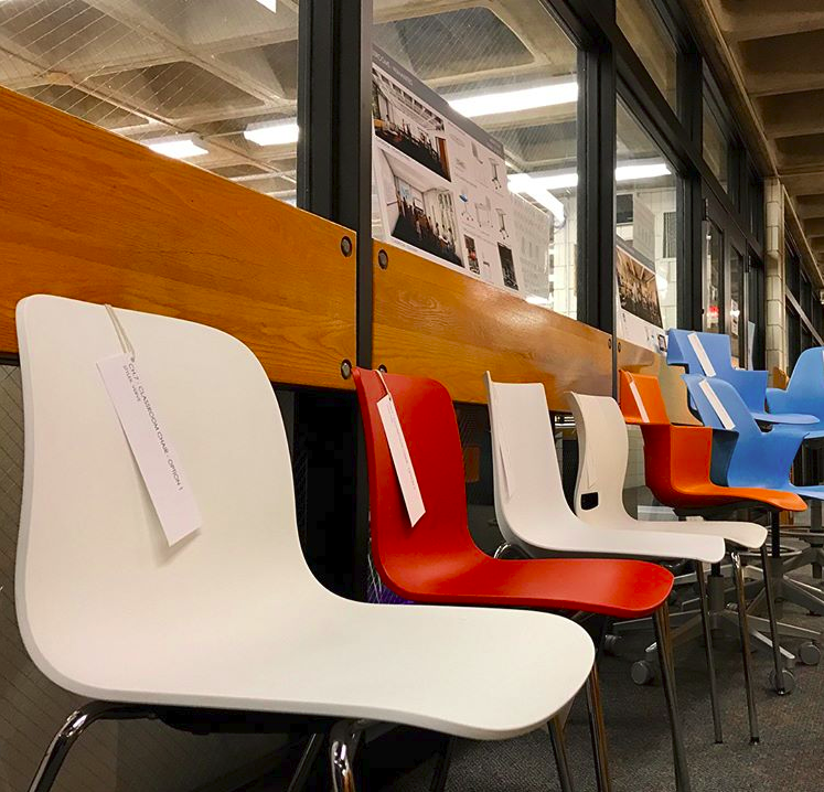 """Students were able to test and vote on furniture for the new Schilling center. """"I think it was fun testing out the chairs and helping decide what types of furniture we bein the Schilling Center. It was also fun to see the students help in the involvement of the center,"""" 9th grader Ivan Starchook said."""
