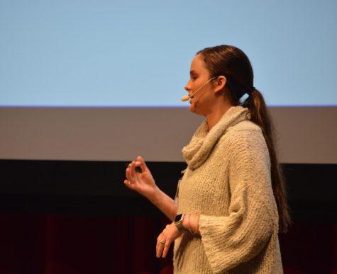 Presenter Krista Schaefer speaks to the audience.