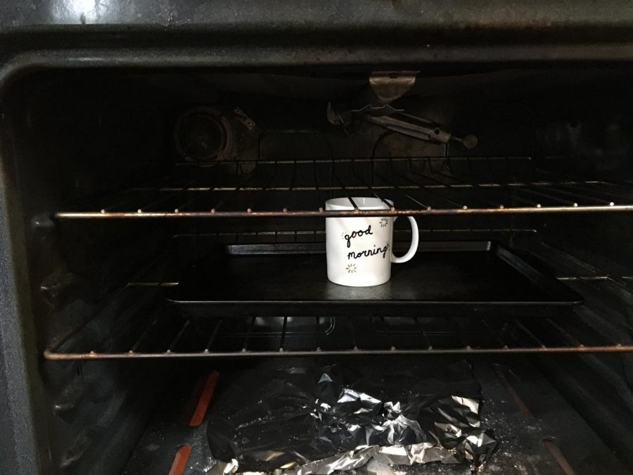 Step 3. Place dried mug in the oven BEFORE heating it up, to prevent cracking.
