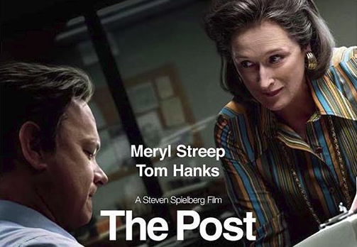 The Post, directed by Steven Spielberg retells the Pentagon Papers, a supreme court case that supported The Washington Post's freedom of press.