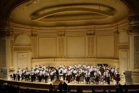 "On Feb. 4, senior Julia Wang played with the Honors Symphony Orchestra at Carnegie Hall. ""Carnegie Hall is just such an amazing place. I went there last year with the [school] choir but I didn't feel like it was the same since I didn't really earn it. [Going with HPS]  was different because I auditioned and earned my spot in this orchestra,"" Wang said."