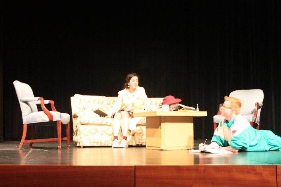 The set included a couch from the senior lounge, which characters rearranged themselves on during a brief switch accompanied by mii theme music, selected by senior Mira Zelle.