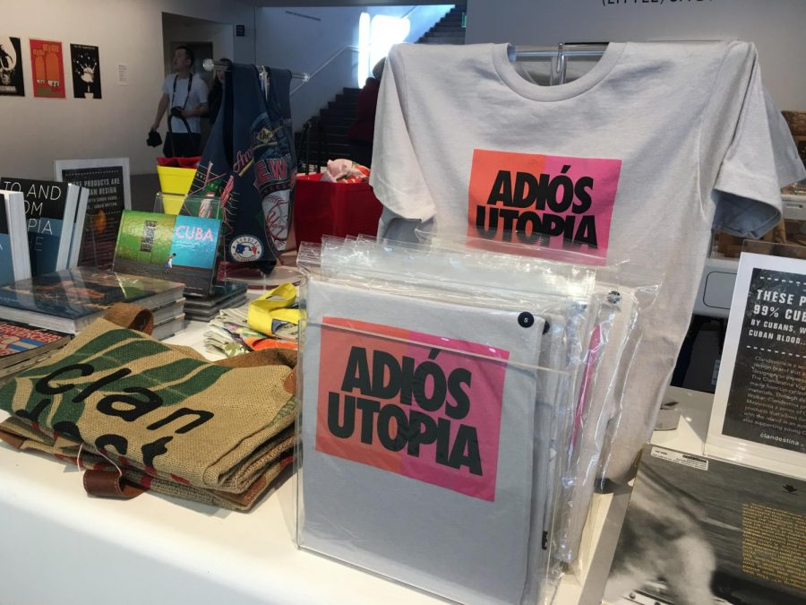 Adiós Utopia T-shirts sold in the gift shop.