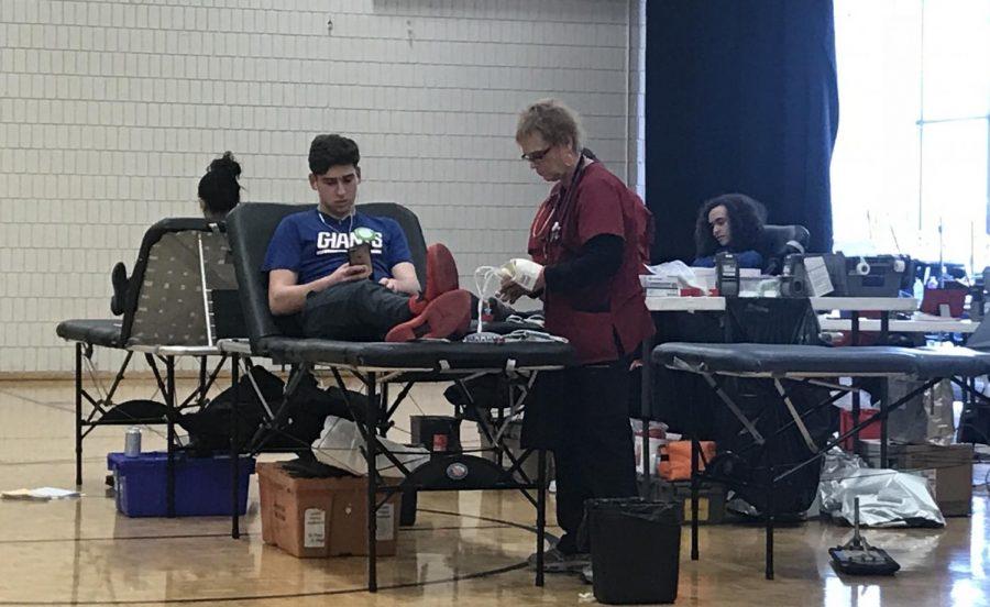Junior Reuben Vizelman, donates blood at the annual drive.