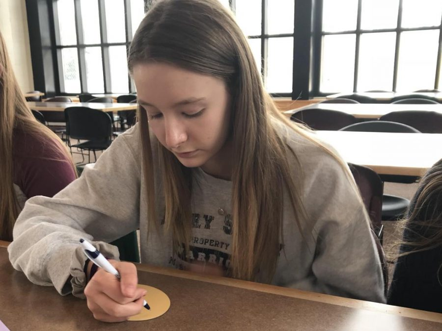 Junior Anna Perleberg writes a letter of support to the students effected by the shooting.