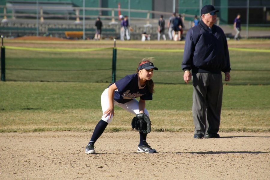 Senior Sophia Rose looks on from her position in the infield during the 2017 season.
