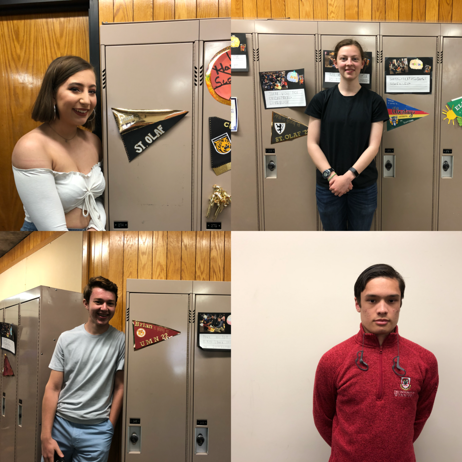 Seniors Sylvie Schifsky, Sabrina Rucker, Brian Orza and Erik Quillopa showcase the school they will be going to through flags on their lockers and school gear.
