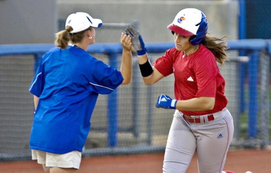 Head coach Liz Kocon during a game while playing for the Division I Kansas softball team.