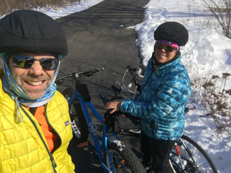 Upper School technology coordinator, Chris White, also participates in the 30 Days of Biking with his wife.
