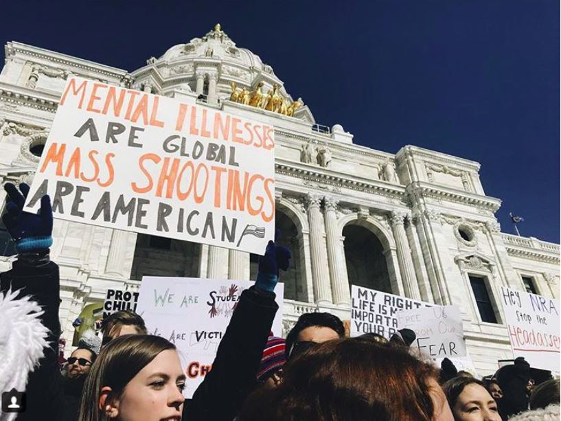 Students stand and protest at the capital against gun violence on March 7th.
