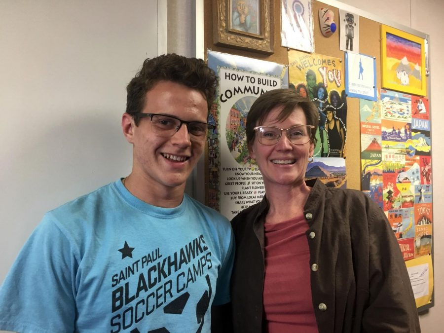 "9th grader Jack Biggs with US History teacher Andrea Moerer. ""I really appreciate Dr. Moerer because she helps me study for my tests when I'm stressed and always makes sure I thoroughly understand the things we're learning in history."" Biggs said."
