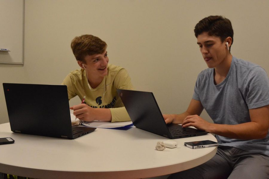 Juniors Eric Bottern and Andy Ellis favor working together in the study rooms.