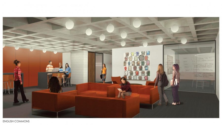 A rendering of the new English Commons to be built in Old Main.