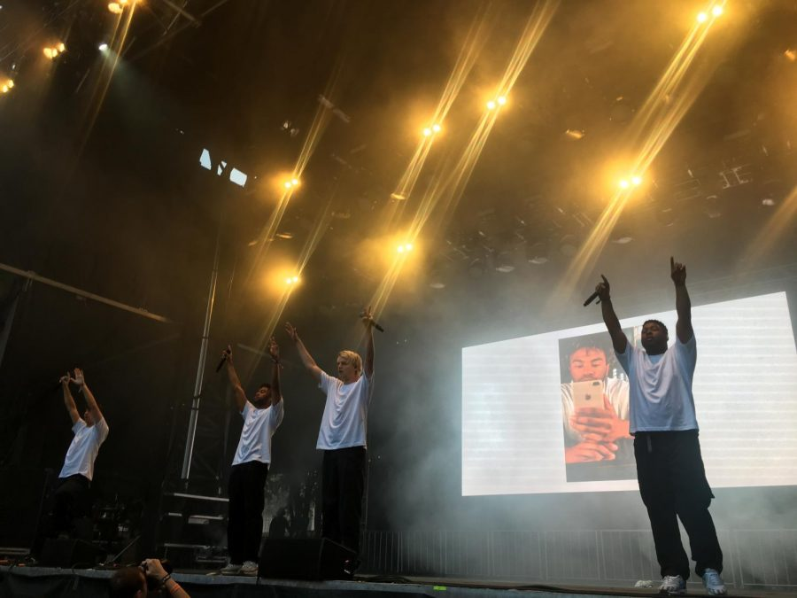 BROCKHAMPTON+performs+at+Lollapalooza+%28from+left+Bearface%2C+Joba%2C+and+Kevin+Abstract%29.+After+losing+founding+member+Ameer+Vann+the+band+had+to+work+around+performing+songs+with+his+verses.