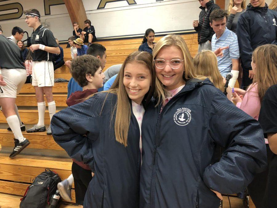 Juniors Helen Bartlett and Martha Sanchez twin in their soccer gear.