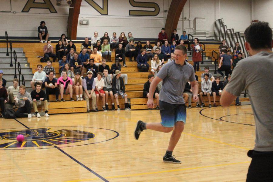 Senior Ryan Moore dodges a ball.