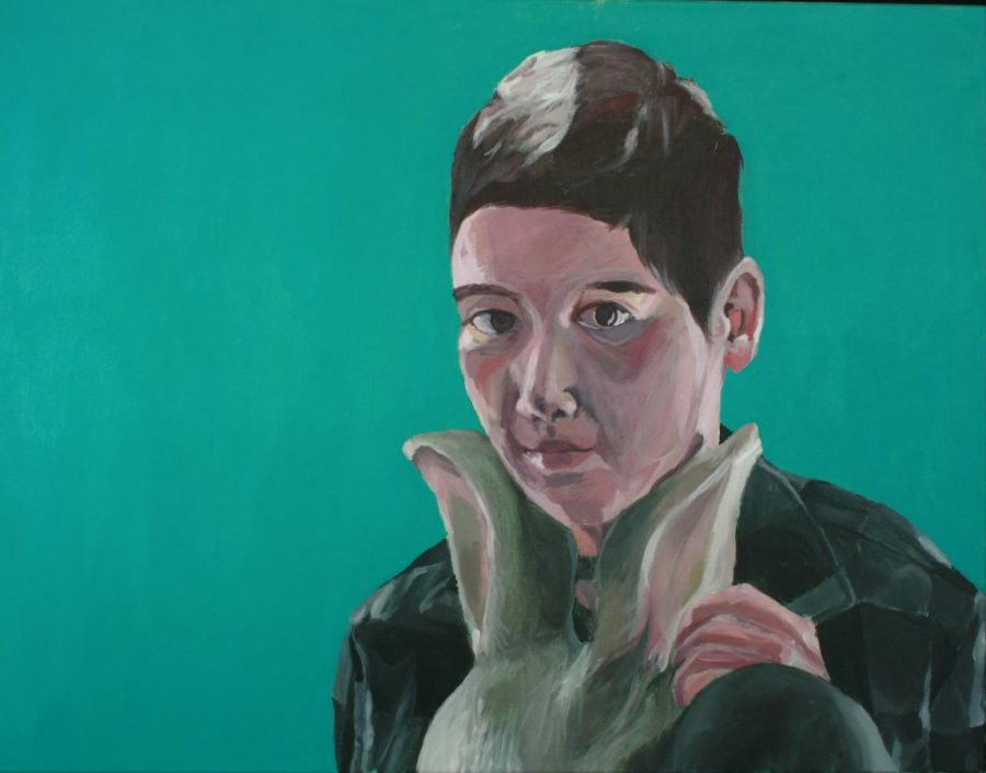 Painting by Isobel Alm in 2017, inspired by a picture of herself with a mask. Credit: Isobel Alm