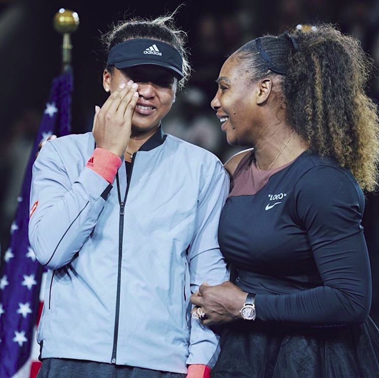 Serena Williams comforts emotional and upset opponent Naomi Osaka after she beats her in a controversial US Open finals match.