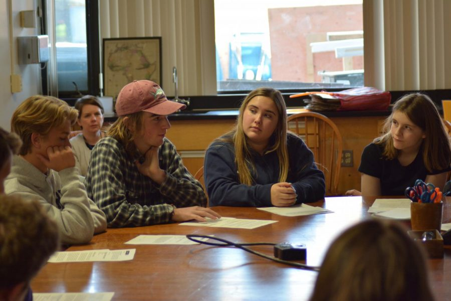 Lynn Reynolds, Kenzie Giese, Henry Burton and Milo Waltenbaugh discuss an uncomfortable scenario with their small group.