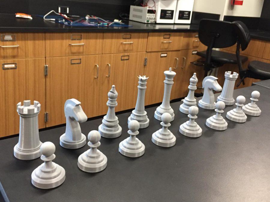 Senior Tom Jaeger's 3D-printed chess set.