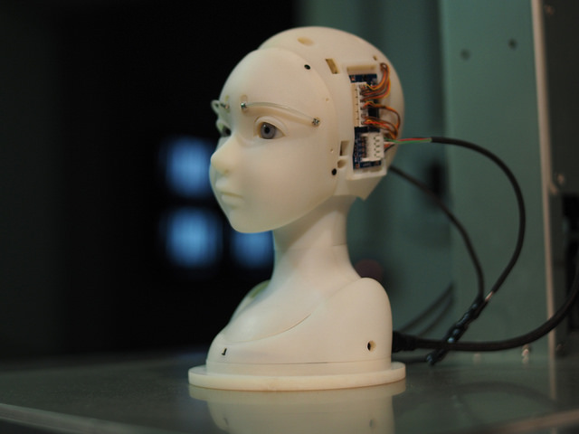SEER is a robot that has eye tracking technology and because of the way it makes contact with viewers, seems to have its own intentions and emotions.