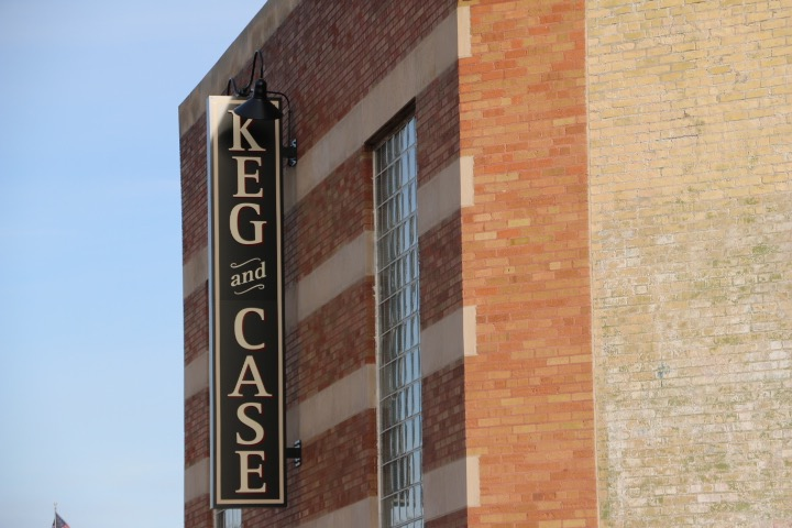 The Keg and Case market sign outside of the old Scjmidt Brewery's