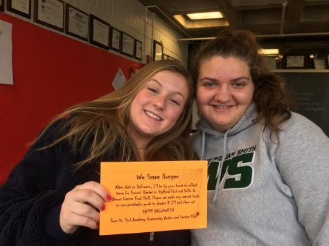 Seniors Ellie Nowakowski and Annie Bottern organized the We Scare Hunger Event for Halloween