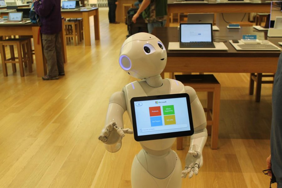 Pepper is a robot capable of communicating with humans who resides at the Microsoft store at the Mall of America.