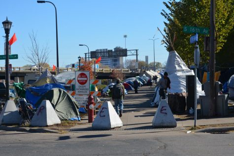 Tent city grows on Hiawatha, occupied mostly by Native Americans.