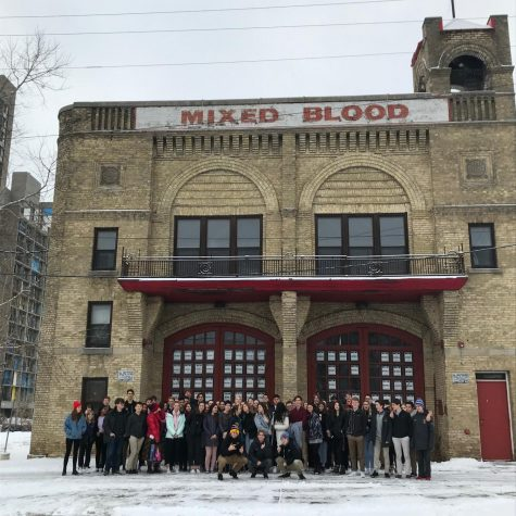 Sophomores stand outside Mixed Blood theater before watching Hype Man on an American Literature field trip.