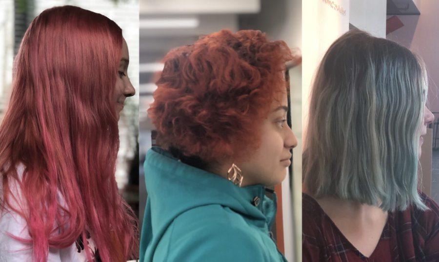 Senior+Gabi+Seifert%2C+junior+Naomi+Wilson%2C+and+ninth+grader+Alice+Duncan+show+off+their+colorful+hair.+