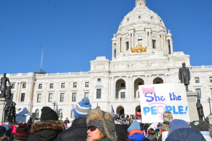 After arriving at the capitol, marchers advocated for women's rights.