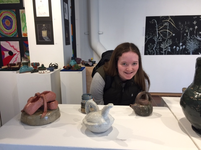 """""""I wanted to work on something I haven't made before, so I incorporated wheel-thrown pieces with hand made ones to create a new piece,"""" Hoeachen said."""