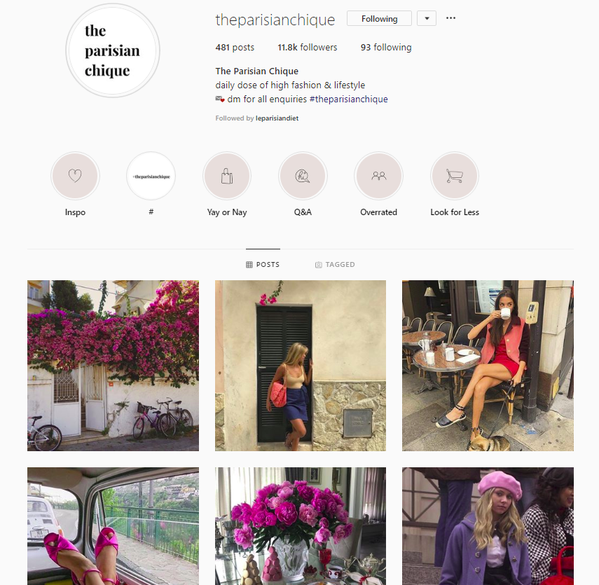 @theparisianchique posts photos for aesthetically pleasing viewing.
