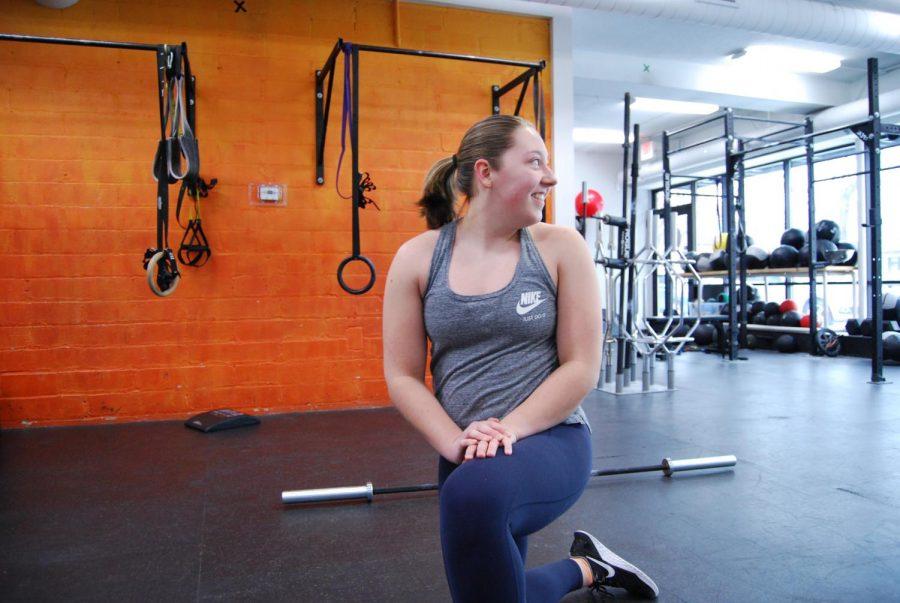 Parke-Reimer takes a break in her exercise