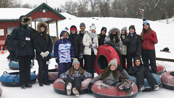 The French exchange students and hosts enjoyed winter activities during their visit Feb. 15-26.