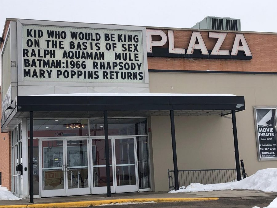 The Plaza Theater in Maplewood as seen from the parking lot.