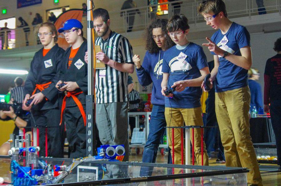 John Hall, Hayden Graff, and Gabriel Konar-Steenberg control their robot.
