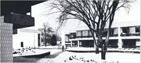 The newly constructed Driscoll Learning Center circa 1973, named for W. John Driscoll, class of 1947.