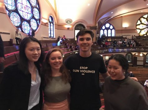 David Hogg with seniors Kat St. Martin-Norburg, Chloe Morse, and Elea Besse after an unexpected meeting.