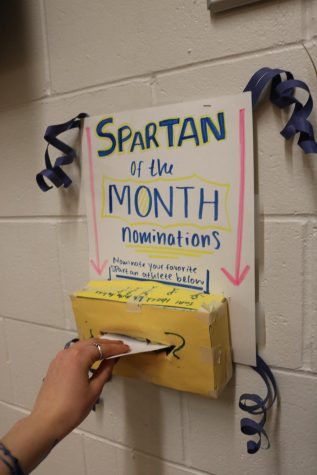 The Spartan of the Month nomination box is located in the Athletic Hallway.